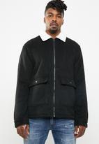 Cotton On - Sherpa trucker jacket - black