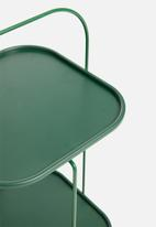 Present Time - Tray steel side table – dark green