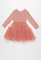 Cotton On - Iris long sleeve tulle dress - pink