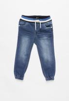 name it - Bob draw cord denim jogger pants - blue