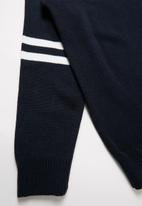 Rebel Republic - Teens pullover with striped sleeves - navy & white