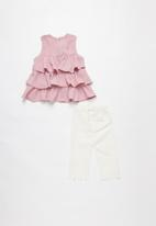 POP CANDY - Blouse with 3/4 pants set - pink & white