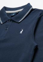 POLO - Teens robert contrasted long sleeve golfer - navy