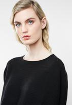MANGO - Ribbed knitted sweater - black