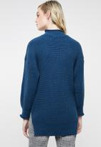 Superbalist - Funnel neck knit with slide slits - blue