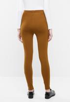 Superbalist - Premium stretch mid rise tregging with seam detail - brown