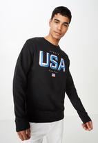 Cotton On - Crew fleece  sweater - black