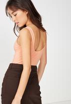 Cotton On - Sasha placket detail ribbed bodysuit - pink