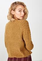 Cotton On - Lexi rib raglan pullover  - brown