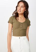 Cotton On - Lylah henley short sleeve top - green