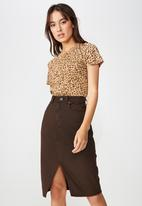 Cotton On - Midi denim skirt - brown