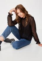 Cotton On - Zoey shirred mock beck blouse - black