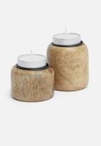 Sixth Floor - Aster candle holder set of 2 - brown