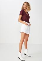 Cotton On - The deep V-neck tee - burgundy