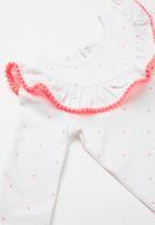 Cotton On - Mini long sleeve ruffle neck bubbysuit - white & pink