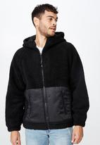 Cotton On - Hooded teddy zip through jacket - black