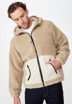 Cotton On - Hooded teddy zip through jacket - beige