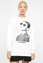 ONLY - Star long round neck sweat top - white