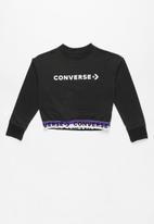 Converse - Converse wordmark cropped po crew - black