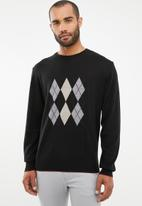 Pringle of Scotland - Archie tailored fit argyle knit - black