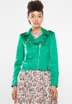 ONLY - Sherry bonded biker jacket - green