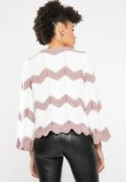 ONLY - Hania 7/8 pullover knit - pink & white