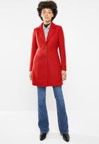 ONLY - Beatrice longline wool coat - red