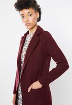 STYLE REPUBLIC - Maxi length coat - burgundy