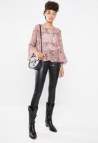 STYLE REPUBLIC - Romantic volume blouse - pink & brown
