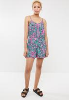 Brave Soul - Spaghetti strap playsuit - pink & turquoise