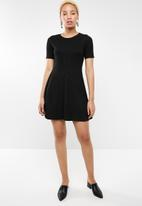 STYLE REPUBLIC - Ribbed skater dress - black