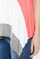 edit - Hi-lo colour block cami - pink & grey