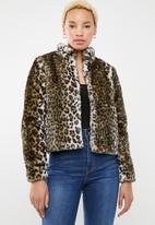 Jacqueline de Yong - Frodo leo short faux fur jacket - multi