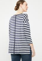 edit - 3/4 sleeve knit jersey - blue & white