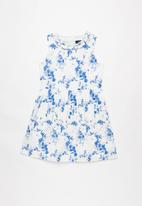 POLO - Emily floral party dress - white & blue