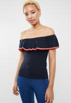ONLY - Minna off shoulder knitted top - navy