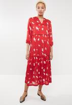 ONLY - Giza long sleeve maxi woven dress - red & white