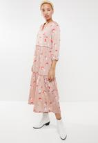 ONLY - Giza long sleeve maxi woven dress - pink