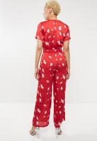 ONLY - Giza short sleeves woven jumpsuit - red & white