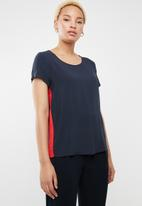 ONLY - First short sleeve top - navy & red