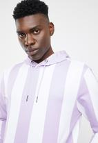Only & Sons - Harper striped sweat hoodie - white & lilac