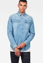G-Star RAW - 3301 straight fit long sleeve shirt - blue