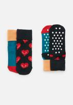 Happy Socks - 2-pack smiley heart anti-slip socks - multi