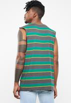 Silent Theory - Flagged stripe muscle tee - green & grey