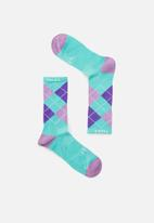 Falke - Argyle crew socks - turquoise & purple