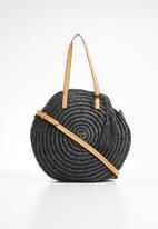STYLE REPUBLIC - Round straw bag - black