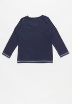 GUESS - Teens long sleeve guess branded v-neck tee - navy