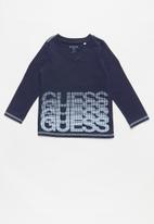 GUESS - Long sleeve guess branded v-neck tee - navy