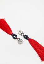 STYLE REPUBLIC - Tassel earrings - navy & red