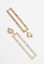 STYLE REPUBLIC - Statement diamante earrings - gold